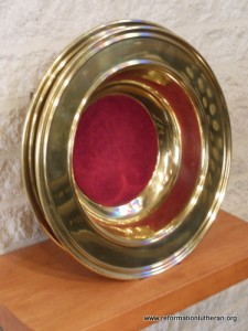 Reformation Lutheran Church offering plates